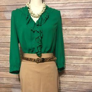 Anthropologie silk green blouse HD IN PARIS 12